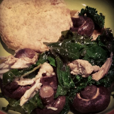 roasted mushroom kale chicken